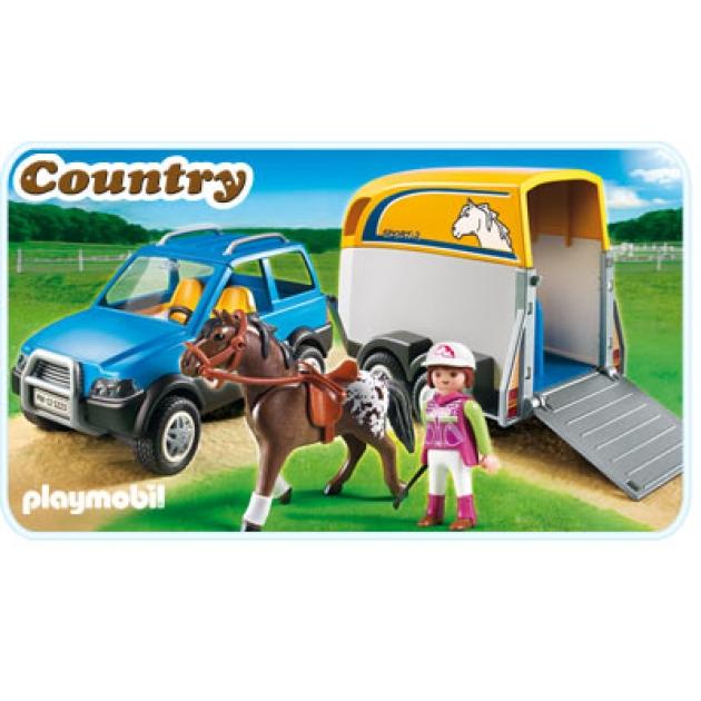Playmobil серия конный клуб Джип с трейлером для перевозки лошадей 5223pm