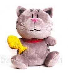Мягкая игрушка кот котофей с рыбкой в руке 25 см 25 1523 25