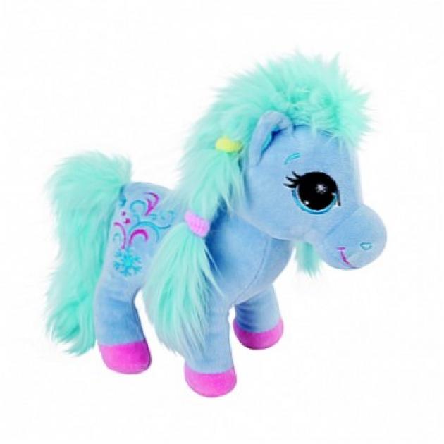 Мягкая игрушка пони с голубой гривой 25 см 7 54278