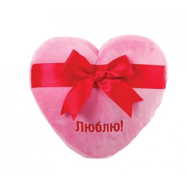 Мягкая игрушка сердце розовое люблю с большим красным бантом 25 см 7 53006