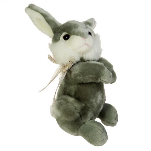 Мягкая игрушка зайка с бантиком на шее 25 см 21 942851