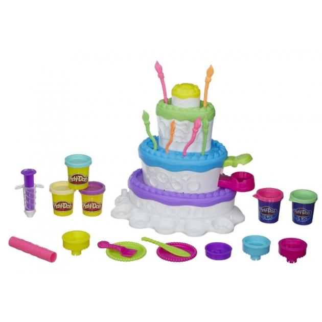 Детский пластилин play doh набор праздничный торт hasbro a7401