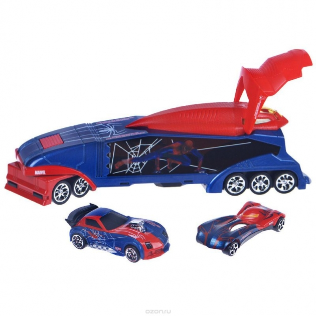 Игровой набор Majorette Человек Паук Трейлер и 2 авто 3089714