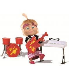 Кукла Маша в рок-наряде с гитарой, синтезатором и барабанами Маша и Медведь 9301...