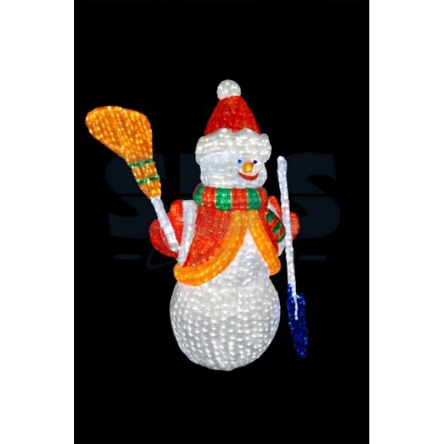 Акриловая фигура Снеговик с лопатой и метлой 160см, 3160 светодиодов, понижающий трансформатор в комплекте, Neon Night 513-201