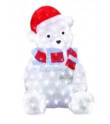 Акриловая фигура Медвежонок в красном колпаке 56 см, 200 светодиодов, понижающий...