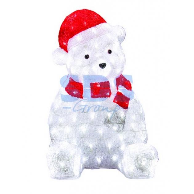 Акриловая фигура Медвежонок в красном колпаке 56 см, 200 светодиодов, понижающий трансформатор в комплекте, Neon Night 513-240