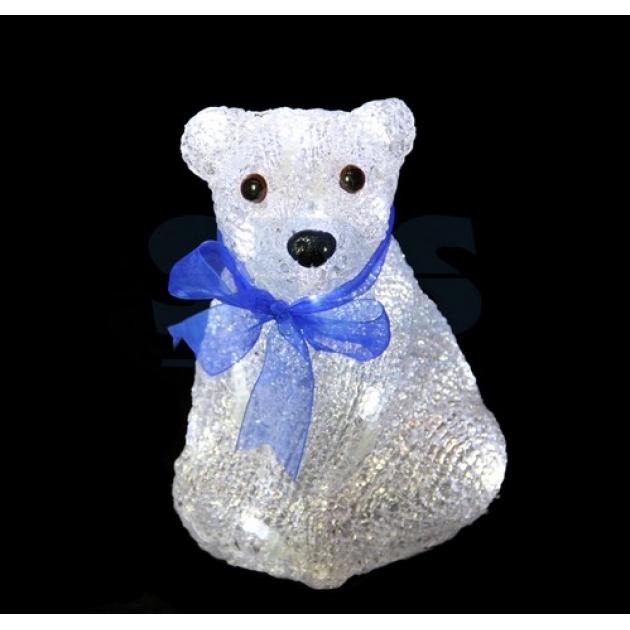 Акриловая фигура Белый мишка 20 см, 4,5 В, 3 батарейки AA не входят в комплект, 20 светодиодов, Neon Night 513-247
