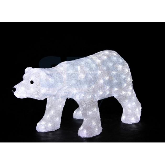 Акриловая фигура Белый медведь, 81х41х45 см, 270 светодиодов белого цвета, понижающий трансформатор в комплекте, Neon Night 513-248