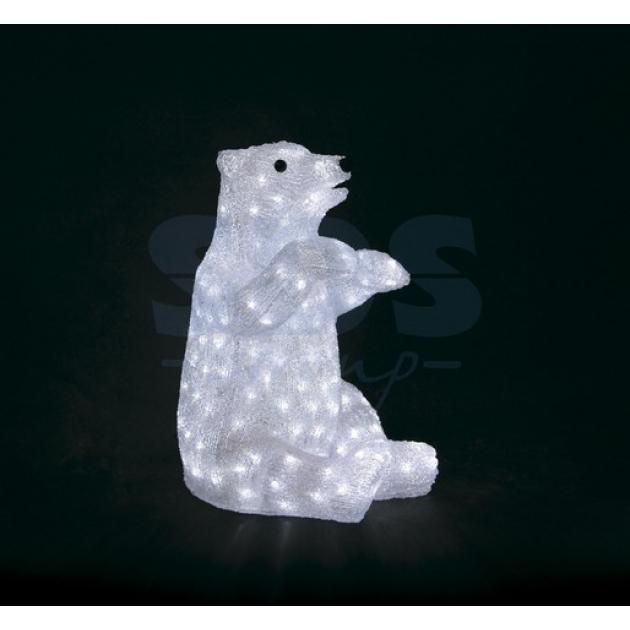 Акриловая фигура Белый медведь 36х41х53 см, 200 светодиодов, понижающий трансформатор в комплекте, Neon Night 513-249