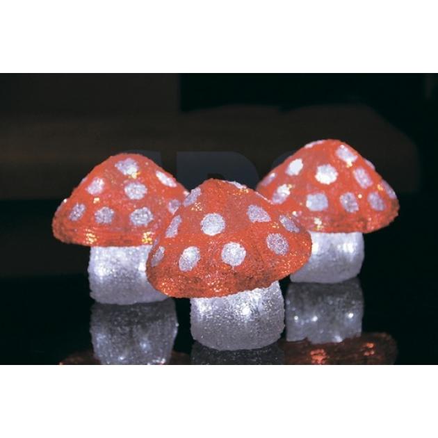 Акриловая фигура Семья мухоморов 3 штуки,15х15х15 см, 60 светодиодов, понижающий трансформатор в комплекте, Neon Night 513-256