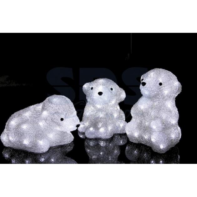 Акриловая фигура Медвежата 3 шт, 20 см, 60 светодиодов, понижающий трансформатор в комплекте, Neon Night 513-266