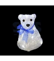 Акриловая фигура Мишка с синей ленточкой 30 см, 40 светодиодов, понижающий транс...