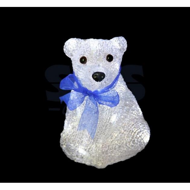 Акриловая фигура Мишка с синей ленточкой 30 см, 40 светодиодов, понижающий трансформатор в комплекте, Neon Night 513-269