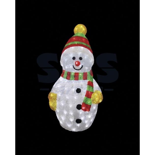 Акриловая фигура Снеговик с шарфом 60 см, 200 светодиодов, понижающий трансформатор в комплекте, Neon Night 513-274