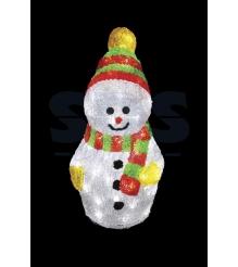 Акриловая фигура Снеговик с шарфом 30 см, 40 светодиодов, понижающий трансформат...