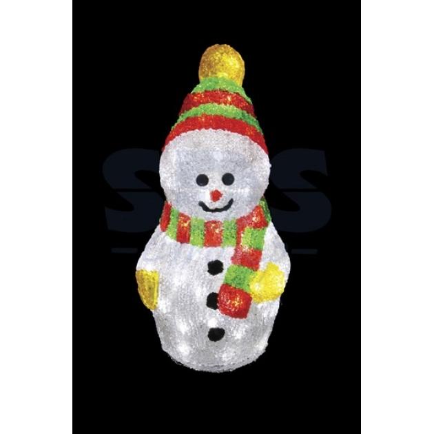 Акриловая фигура Снеговик с шарфом 30 см, 40 светодиодов, понижающий трансформатор в комплекте, Neon Night 513-275