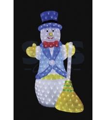 Акриловая фигура Снеговик с метлой 100 см, 470 светодиодов, понижающий трансформ...