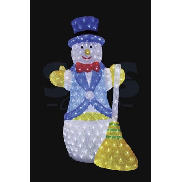 Акриловая фигура Снеговик с метлой 100 см, 470 светодиодов, понижающий трансформатор в комплекте, Neon Night 513-276