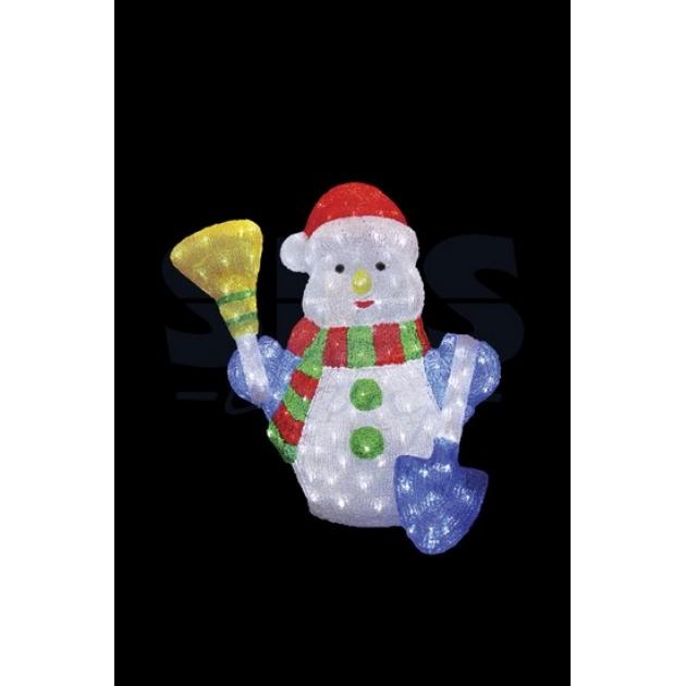Акриловая фигура Снеговик с метлой и лопатой 60 см, 260 светодиодов, понижающий трансформатор в комплекте, Neon Night 513-277