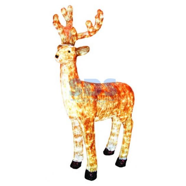 Акриловая фигура Бурый олень 130 см, 380 светодиодов, понижающий трансформатор в комплекте, Neon Night 513-306