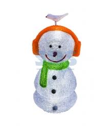 Акриловая фигура Снеговик в наушниках 27х27х60 см,16 светодиодов, понижающий тра...
