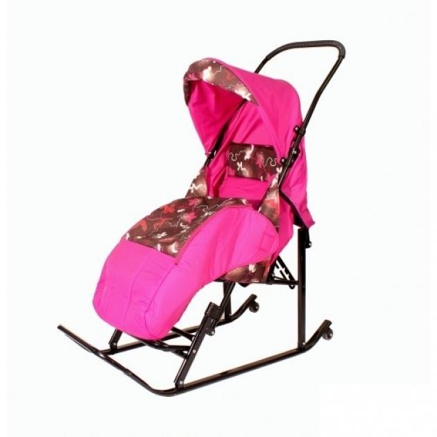Детские санки коляска Papajoy Шустрик Имго 6 розовые,