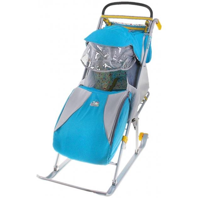 Детские санки коляска Papajoy Ника детям 2 с колесиками