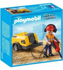 Playmobil Стройка Строитель с отбойным молотком 5472pm...