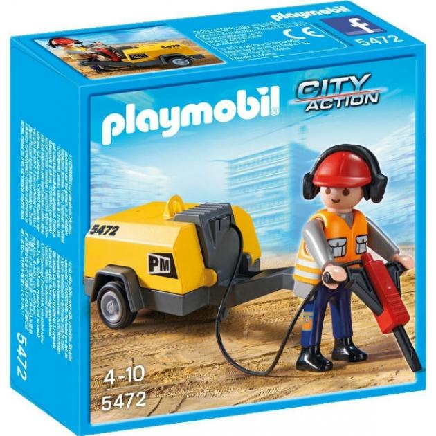 Playmobil Стройка Строитель с отбойным молотком 5472pm