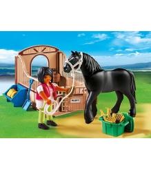 Playmobil Конный клуб Черная лошадка и загон 5519pm