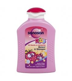 Гель для душа и шампунь Sanosan с ароматом малины 200 мл