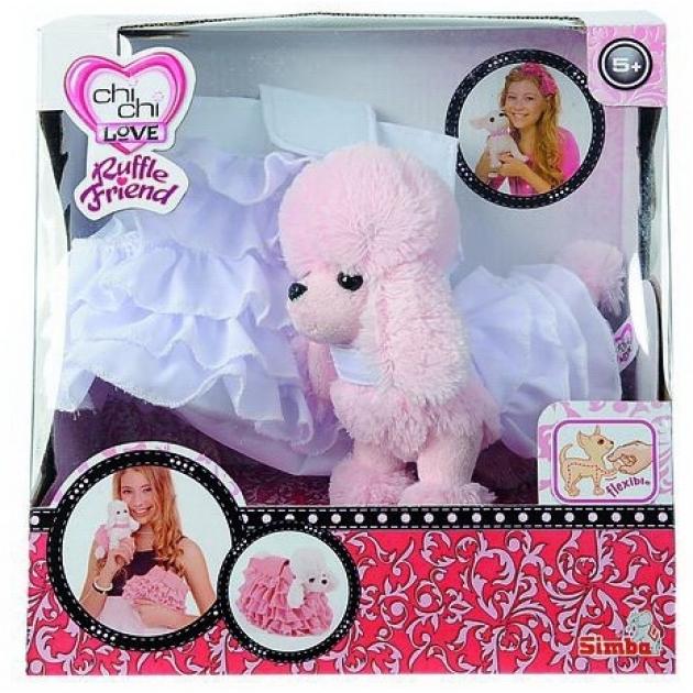Розовый пудель Chi Chi Love в белом платье в комплекте с белым клатчем 5891587