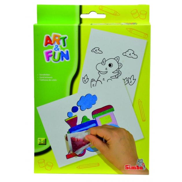 Набор для рисования цветным песком Simba Art Fun динозавр и паровозик 6330378