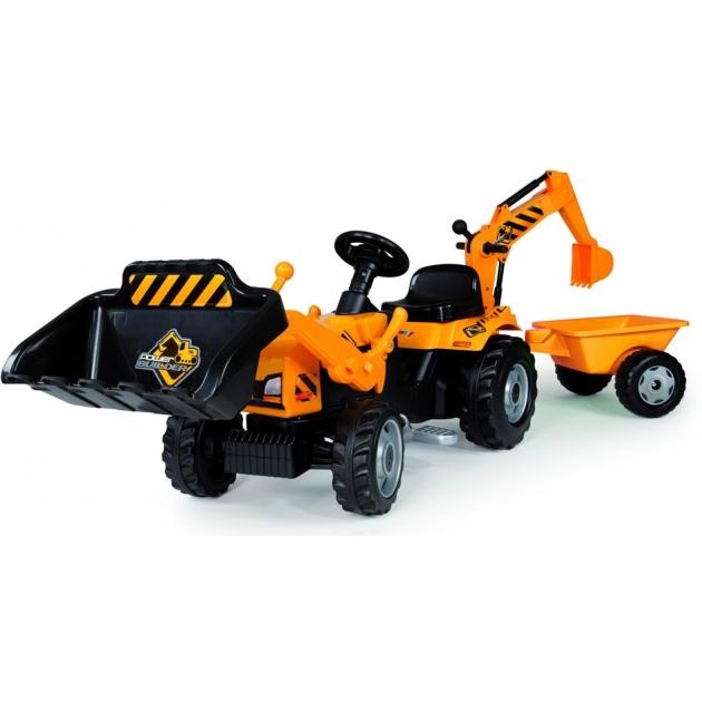Трактор педальный Smoby с ковшом и прицепом 33389