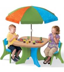 Детский столик для улицы со стульями и зонтом Step 2 834700