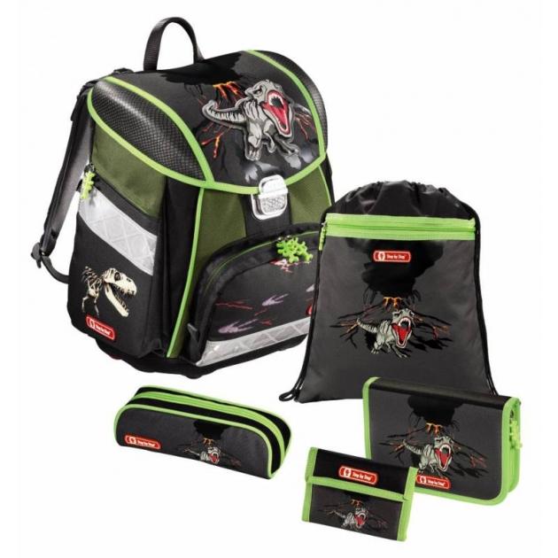 Ранец Touch T-Rex полиэстер серый/зеленый Step By Step