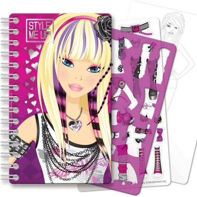 Блокнот с трафаретами Style Me Up малиновый для юного дизайнера 1418