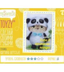 Набор для картин шерстью Toyzy Сова в костюме панды TZ-P024...