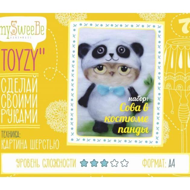 Набор для картин шерстью Toyzy Сова в костюме панды TZ-P024