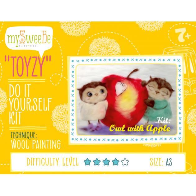 Набор для картин шерстью Toyzy Совушки с яблоком TZ-P026