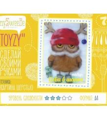 Набор для картин шерстью Toyzy Сова в шапке TZ-P028...