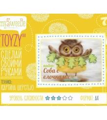 Набор для картин шерстью Toyzy Сова с елочками TZ-P029...