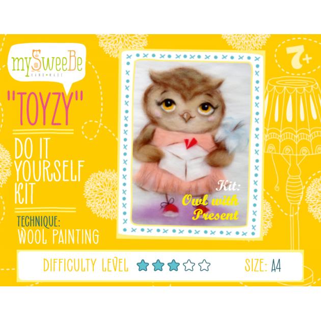 Набор для картин шерстью Toyzy Сова с подарком TZ-P032