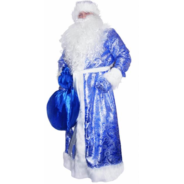 Карнавальный костюм для мальчика Вестифика Дед Мороз жаккардовый синий