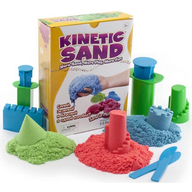 Кинетический песок Waba Fun Kinetic Sand 3 цвета синий зеленый красный по 1 кг 150-308
