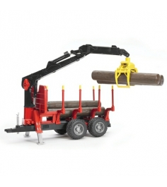 Прицеп для перевозки леса с манипулятором и брёвнами Bruder 02-252...