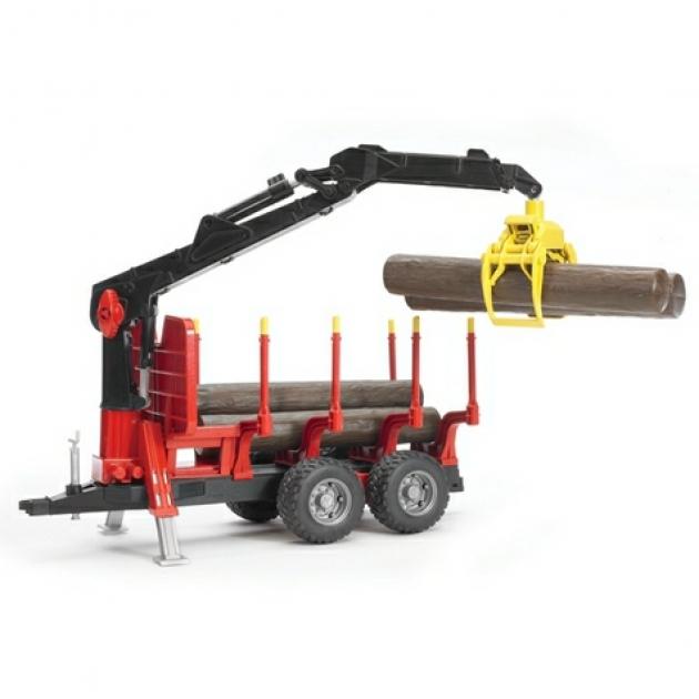 Прицеп для перевозки леса с манипулятором и брёвнами Bruder 02-252