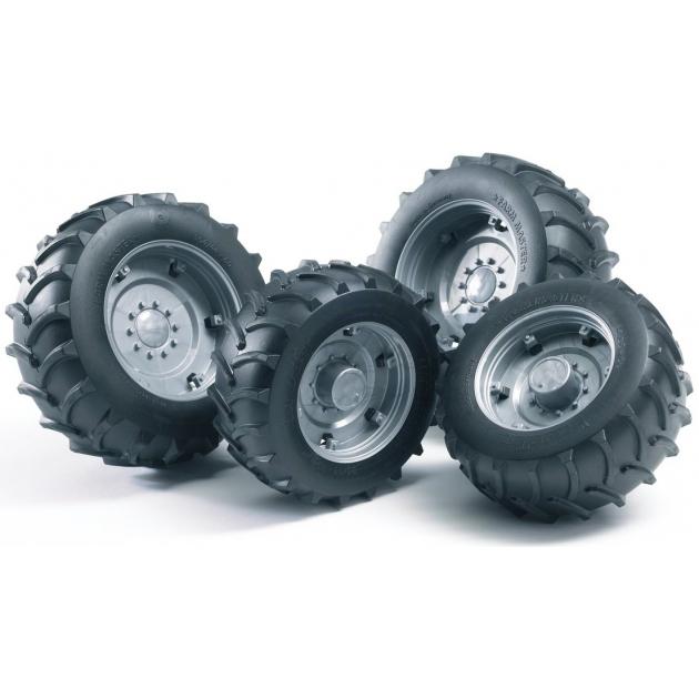 Аксессуары A: Шины для системы сдвоенных колёс с серебристыми дисками 4шт. Bruder (Арт. 02-316)