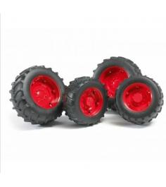 Шины для системы сдвоенных колёс  с красными дисками Bruder (Брудер) 02-322...
